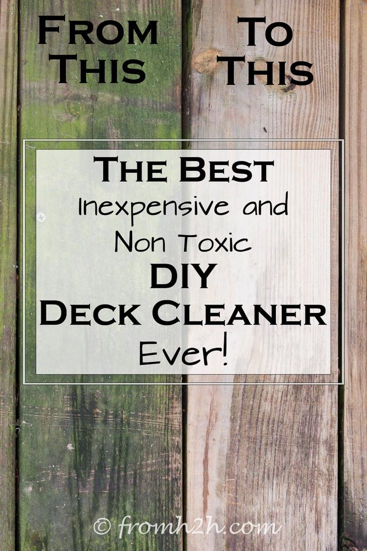 This DIY deck cleaner is the BEST! I love that it is non-toxic and doesn't harm the environment. Now I know how I'm going to remove the algae from my deck! Definitely pinning!