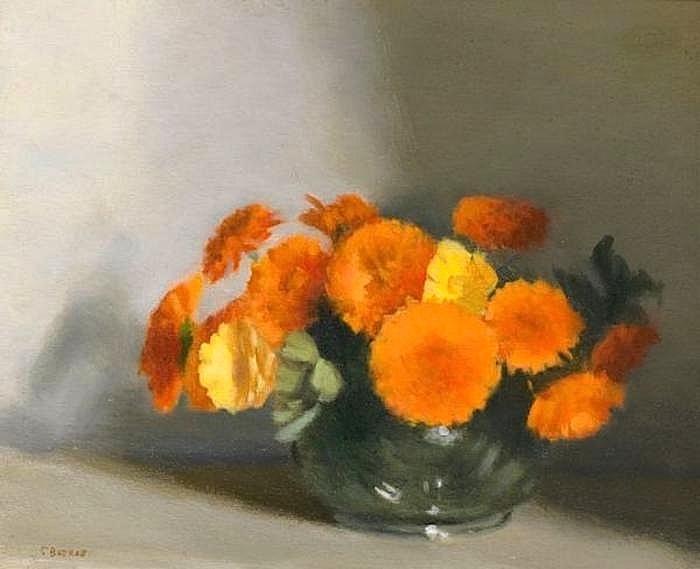 Clarice Beckett - Bowl of Marigolds