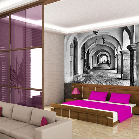 Romantyczna fototapeta z wizerunkiem dawnych kolumn w czerni i bieli doda charakteru każdemu pomieszczeniu.