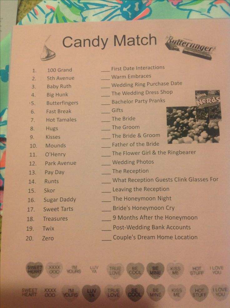 Candy match bridal shower game bridal shower for Bridal shower games that aren t cheesy