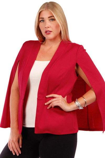 Plus Size Red Cape Jacket