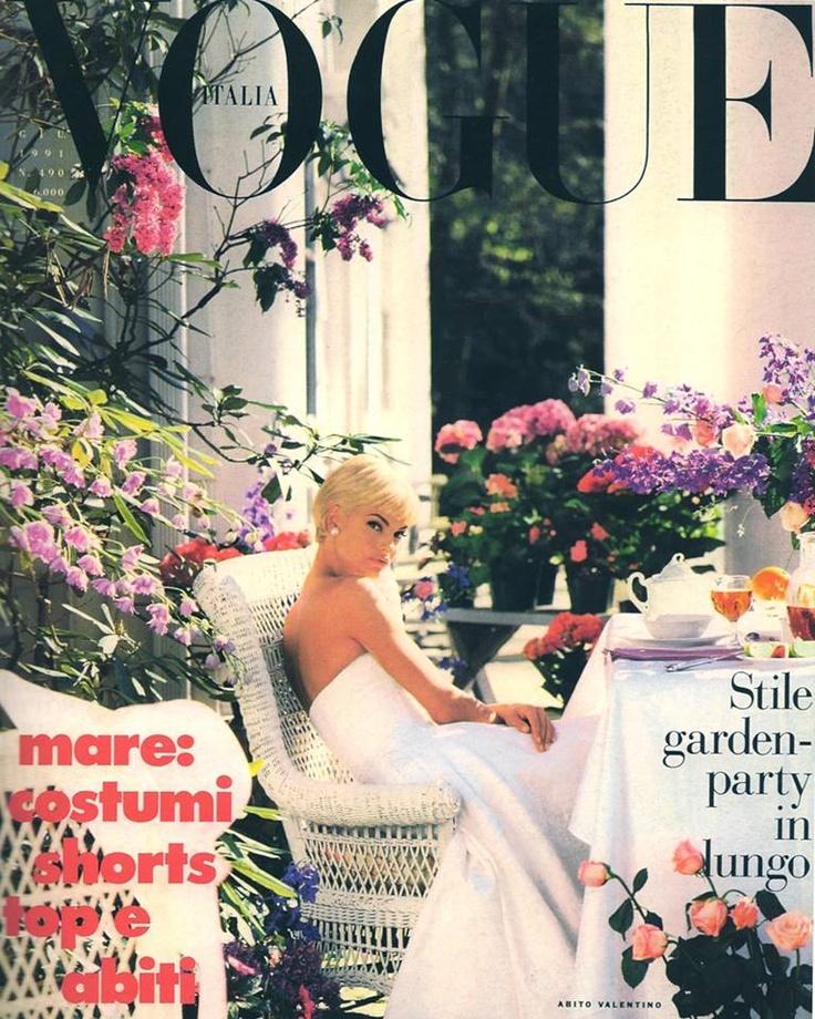 Linda Evangelista On Vogue Italia, Flowers, White Patio