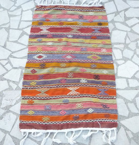 "Small Turkish Area Rug with pastel Stripes 4'26"" x 2'62"""