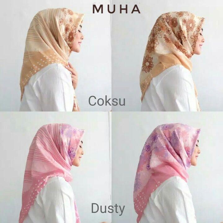 Jilbab Segi Empat Satin Motif Muha Simple Cantik Cara Pemesanan Wa 087884088808 Pakaian Wanita Kerudung Hijab