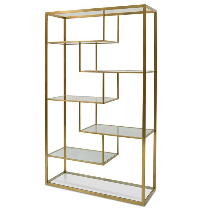 Elle 1 2m Glass Shelving Unit Gold Frame Glass Shelving Unit