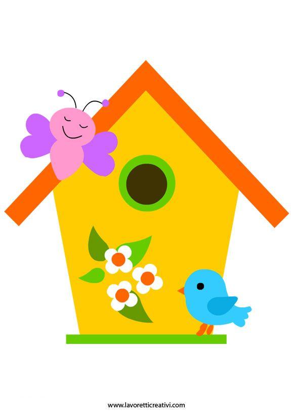 Sagome Primavera: casetta uccelli in primavera Good site for picture stencils and paper craft