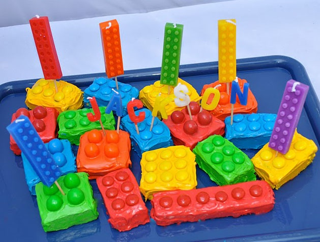 DIY Lego Birthday Party - could be done with cake or rice krispie treats (homemade of course)