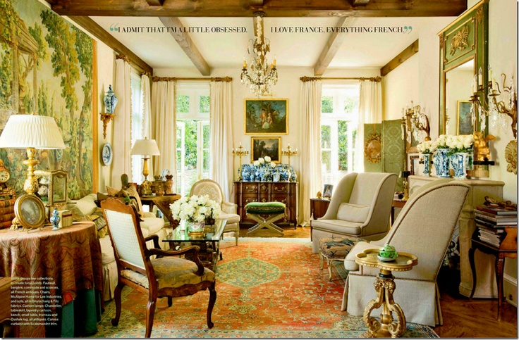 """Quoted: """"This image (above) was found on Cote de Texas; Joni noted that the house reminded her of the wonderful houses she used to love from Southern Accents and older Veranda issues. She noted that houses like this just aren't featured as much in today's interior design magazines. Photo credit Peter Vitale, via Veranda."""""""