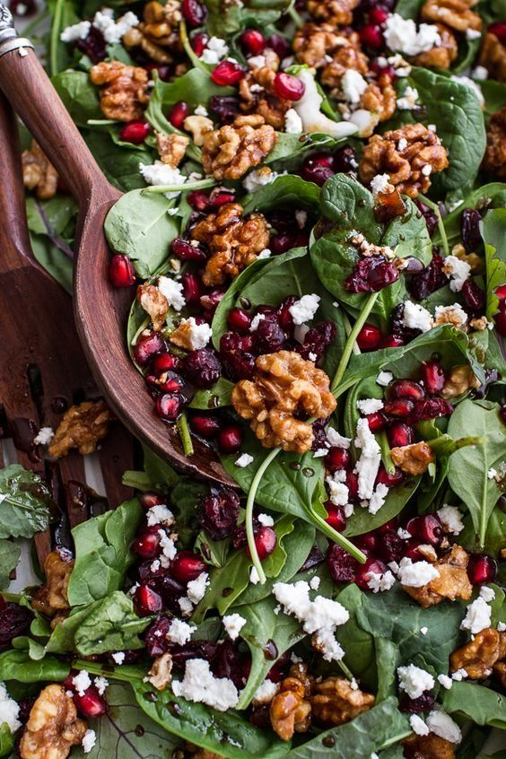 Best part is that this is the simplest salad. It's contains only a few key ingredients. Candied walnuts, pomegranates, cranberries, goat cheese and an incredible balsamic fig dressing.