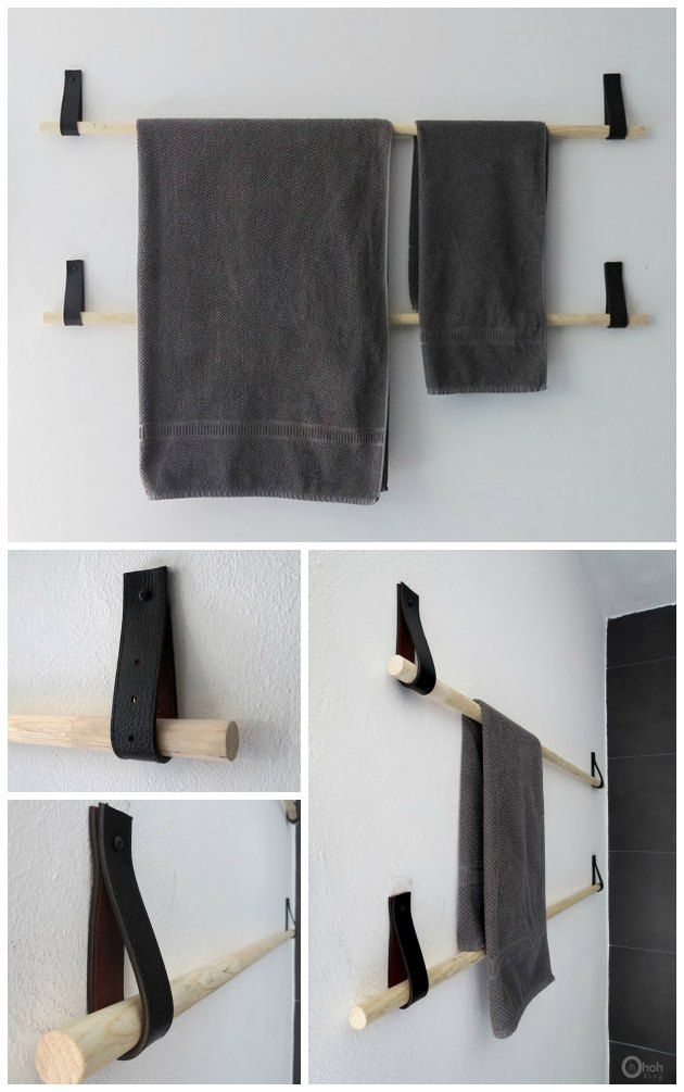 sådan kan man selv lave en håndklædestang af en rundstok og en læderrem