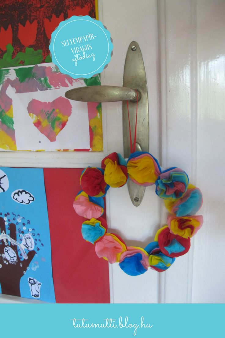 Tutumutti - Gyerekkel kreatívan blog / www.tutumutti.blog.hu / Selyempapírvirágos ajtókoszorú / Tissue paper flower wreath / DIY and Crafts