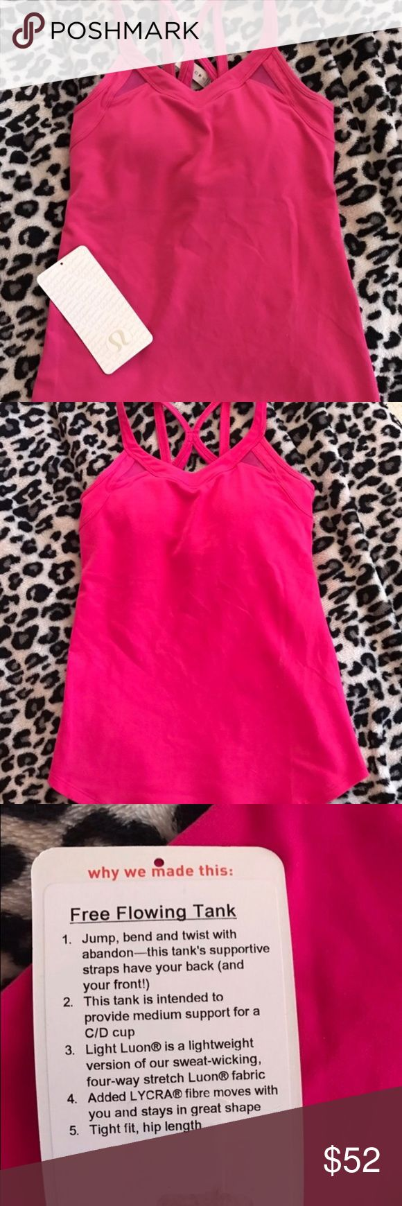 Adorable Lululemon Free Flowing Tank NWT Size 4 Super cute Lululemon tank in size 4, beautiful hot  pink color, built in bra, form fitting, and mesh paneling. New with detached tags. Never been worn, Runs small. Open to trades bundle lululemon athletica Tops Tank Tops