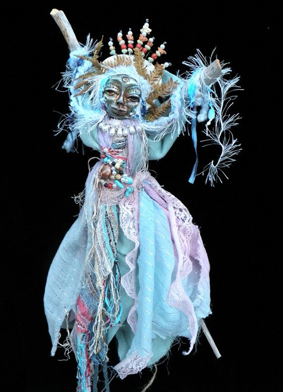 Spirit Doll, Atlantis, Queen of the Wave, Mixed Media, Assemblage, Goddess Doll Artist Lili McGovern