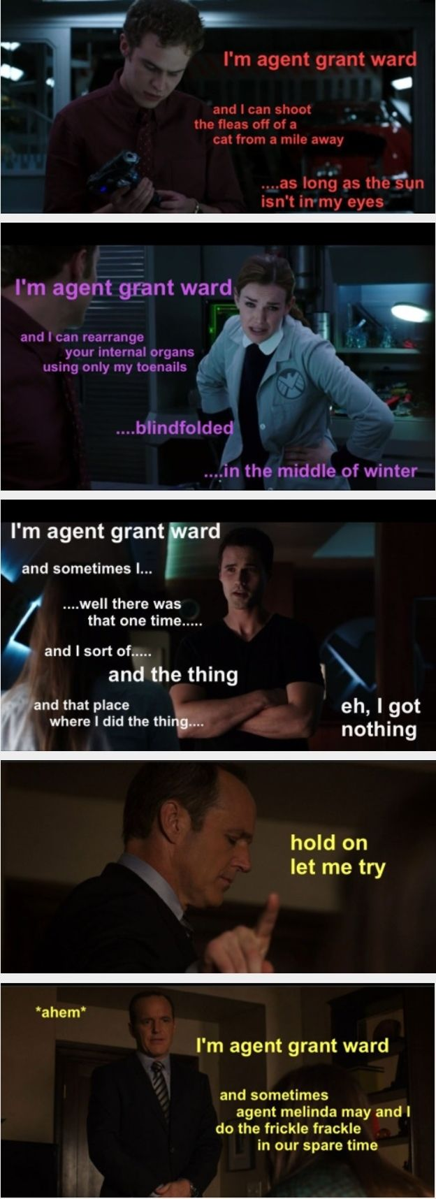 Agents of S.H.I.E.L.D. team.  brett dalton chloe bennet clark gregg elizabeth henstridge grant ward iain de caestecker jemma simmons leo fitz melinda may ming-na wen phil coulson skye