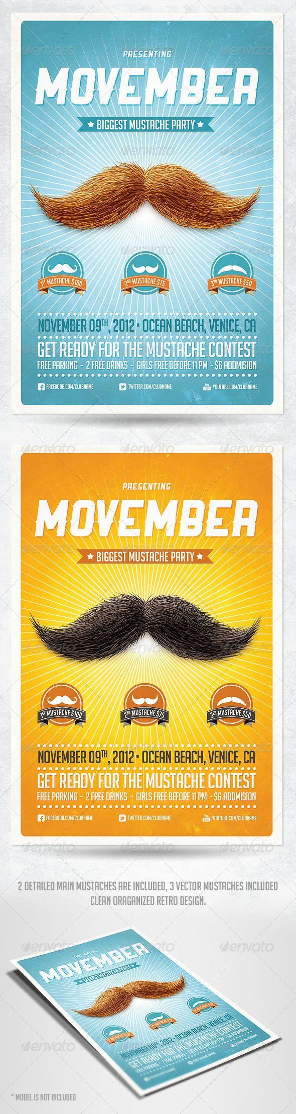 Movember Retro Party Flyer Template PSD