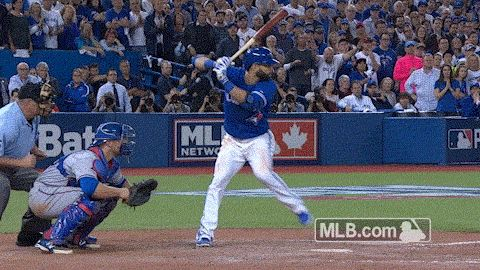 Epic home run and bat flip by Jose Bautista. The Toronto Blue Jays were down 2-0 to the Texas Rangers in the ALDS series, and they fought back to 2-2 to force a winner take all game 5. Down 3-2 in the 7th inning, the Jays tied it up 3-3 and then Jose Bautista crushed a 3-run home run off of Sam Dyson. The Jays would win 6-3 and advance to the ALCS versus Kansas City. October 14, Love Ryan Goins, too! 2015.#comeTOgether #wethenorth #hdmh