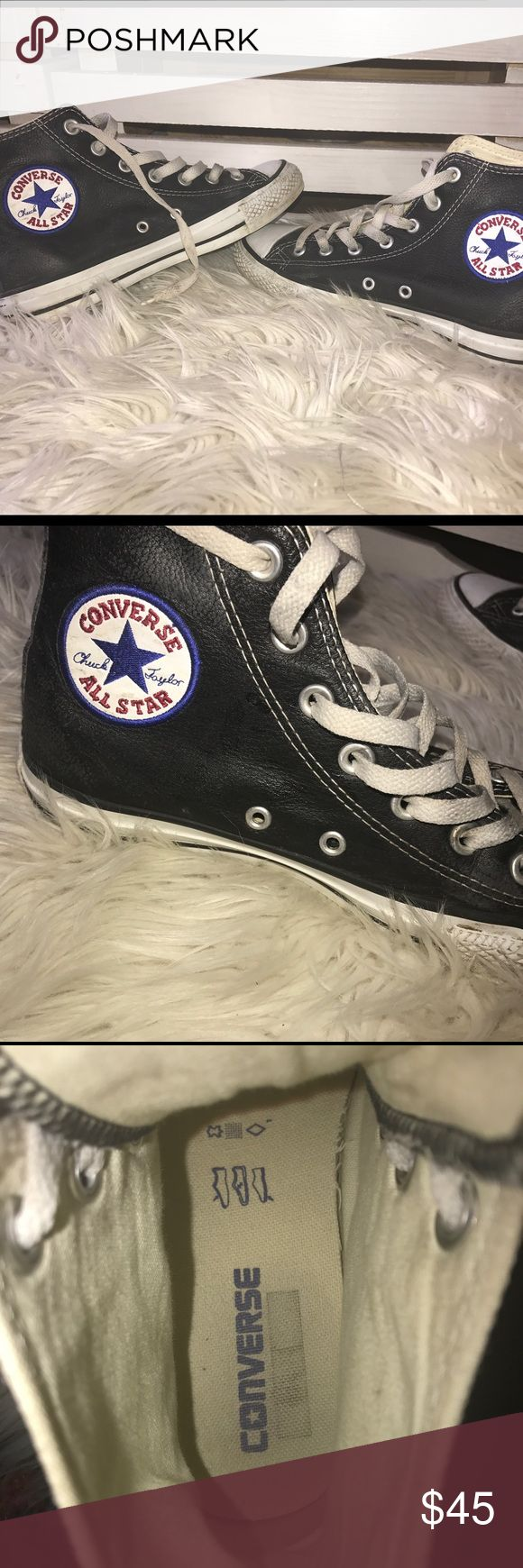 Chuck taylor all star leather This converse chuck taylor all star sneaker adds rich, textured leather onto this iconic high top. Lightly worn, goes great with any casual outfit. Converse Shoes Sneakers