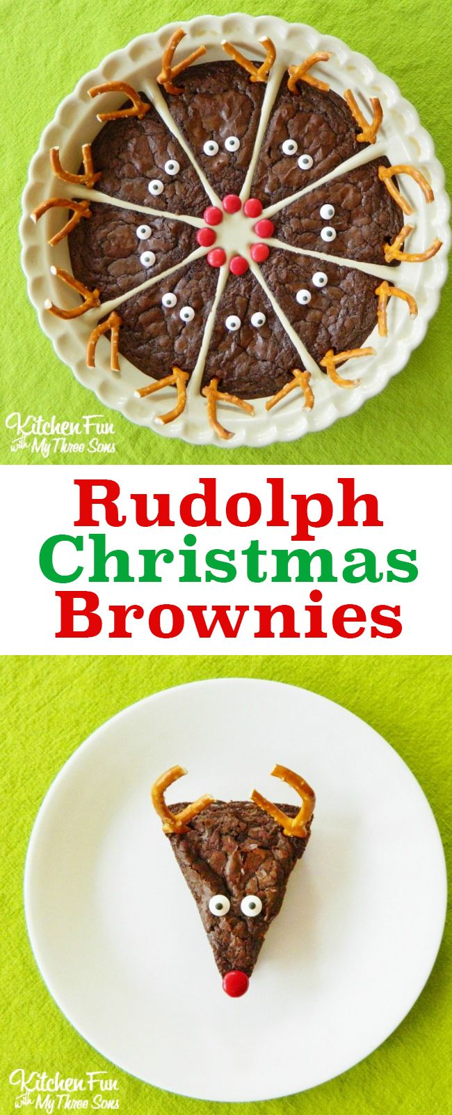 So cute! Love these easy Rudolph the Red Nose Reindeer Brownies. A perfect Christmas holiday party dessert for chocolate lovers. Follow My Pinterest: @vickileandro