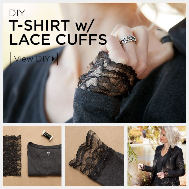 An unexpected touch of lace turns an ordinary t-shirt into something special with this DIY T-Shirt with Lace Cuffs.: An unexpected touch of lace turns an ordinary t-shirt into something special with this DIY T-Shirt with Lace Cuffs.