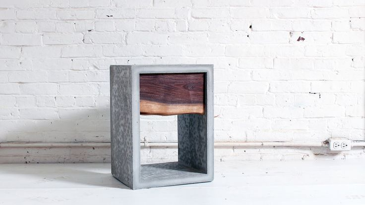 This nightstand consists of an outer concrete shell that was formed with legos and a wood drawer that is faced with a piece of live edge walnut. This is the ...