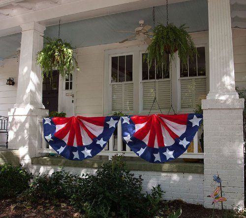 """Patriotic Bunting by House-Impressions. $19.74. Bunting. 29"""" x 91"""". Red, white & blue. The greeting card of your home. Great for yourself or as a gift. Ready for a parade, a party, or an inauguration, this Patriotic Bunting is full of pride and American spirit. Its red, white, and blue stars and stripes are eye-catching and festive. This is a decoration made for the Fourth of July or any occasion of patriotic celebration."""