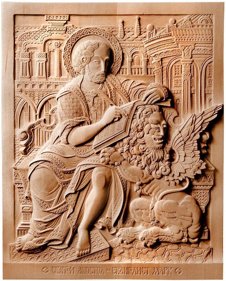 """"""" Евангелист Марк"""" 2002г. 80х60 см. (дерево, резьба)"""