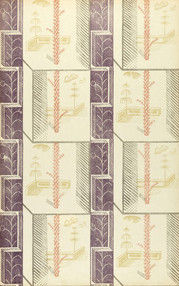 1933 Node wallpaper for Curwen Press by Edward Bawden