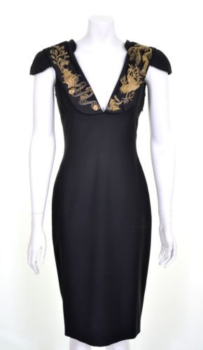 ALEXANDER-McQUEEN-2011-CHINESE-EMBROIDERY-BLACK-GOLD-DRESS-IT-38-UK-6-US-4-BNT