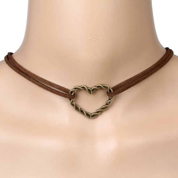 Brown Double Choker Necklace with Heart Pendant