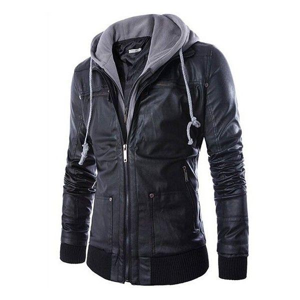Nanxson(TM) Men's Faux-Leather Trucker Hoodie Jacket Coat WTM0037 ($52) ❤ liked on Polyvore featuring men's fashion, men's clothing, men's outerwear, mens clothing, mens outerwear and mens apparel
