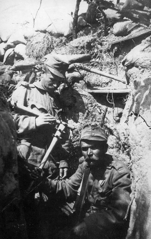 "WWI.Austro-Hungarian soldiers armed with clubs which were some of the many weapons used by soldiers of all the armies involved to ""clear out"" their trench. (1916)"
