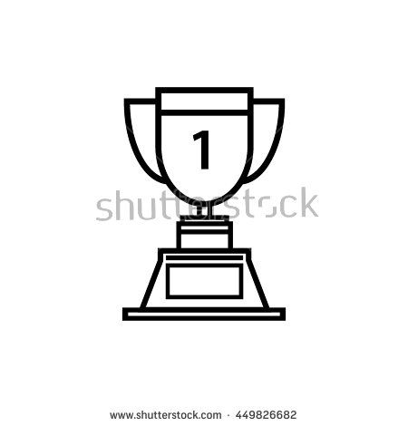 Trophy icon 1st winner , line art vector Illustration