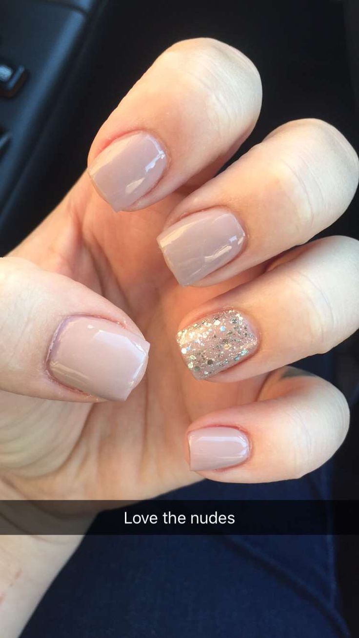 Nude nails with glitter accent nail simple and clean