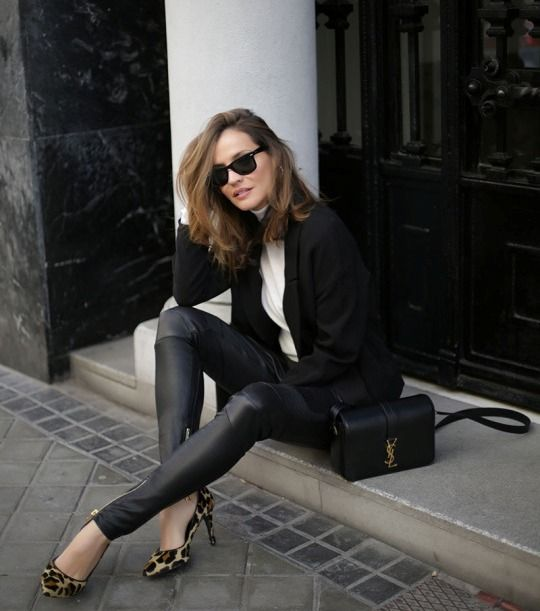 leopard print pumps with blazer and leather trousers