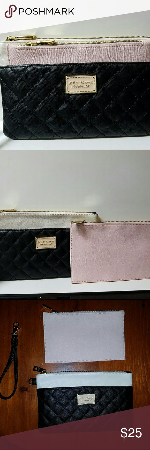 Betsey Johnson Wristlet / Clutch Betsey Johnson black and white wristlet bag, with removable baby pink insert bag and removable wrist strap. The wristlet bag is white with the large black pocket on the front, with a baby pink logo. Baby pink bag slips into the front pocket of the wristlet bag. NWOT. Betsey Johnson Bags Clutches & Wristlets