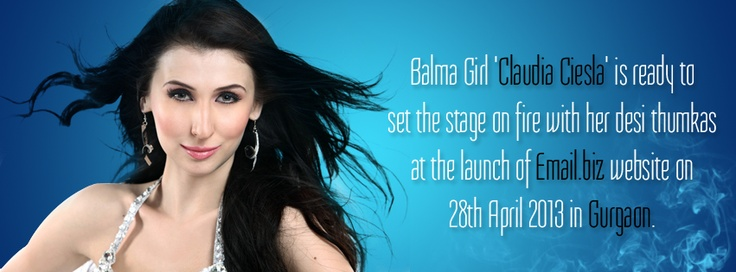 Catch the Sizzling Balma girl of 'Khiladi 786' Claudia Ciesla at the launch of Email.biz website in Gurgaon.