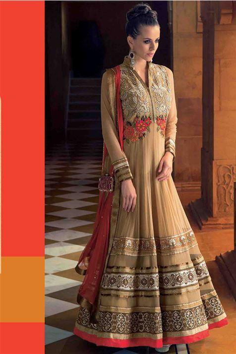 Mesmerizing Fawn Net Designer Party Wear Anarkali Suit