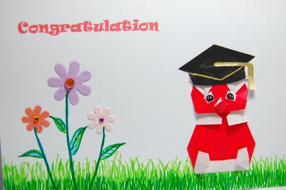 Graduation/Congratulation Card  Origami Bear by SallysArtistry, $4.99