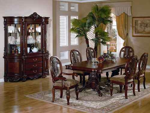 Cherry Renaissance Formal Dining Room Table Chairs Set China Cabinet Furniture
