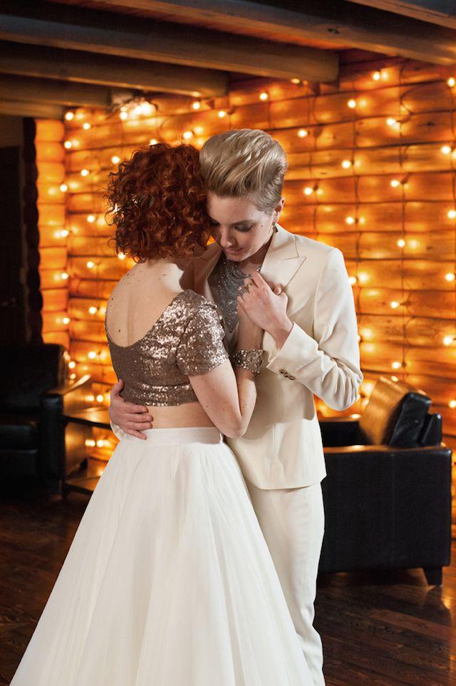Glamorous same-sex wedding | Jarusha Brown Photography | see more on: http://burnettsboards.com/2014/06/rocker-chic-girlie-sequins/