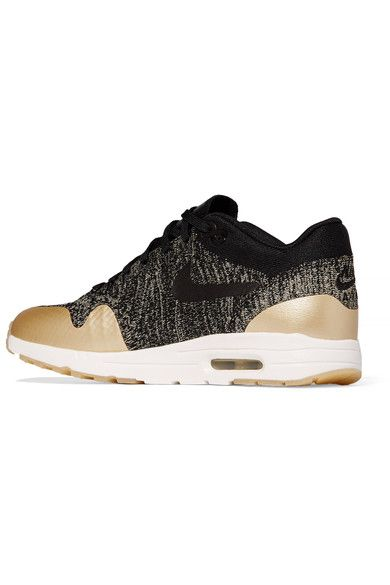 Nike - Air Max 1 Ultra 2.0 Metallic Leather-trimmed Flyknit Sneakers - Black - US
