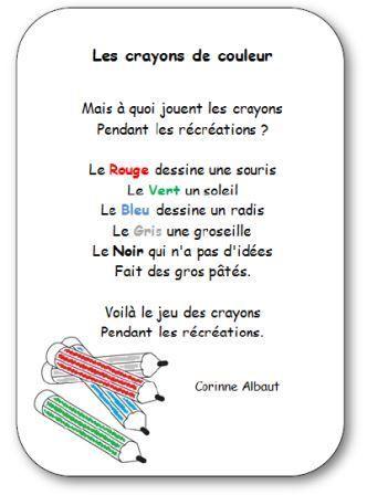 Comptine pour apprendre les couleurs : Les crayons de couleur en version imprimable illustrée. Retrouvez d'autres chansons, comptines et poésies.