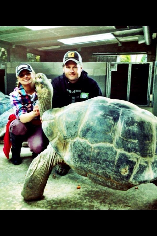 Miranda & Blake, San Diego Zoo date with a turtle! so much i love here
