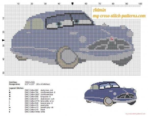 Doc Hudson Disney Cars character cross stitch pattern