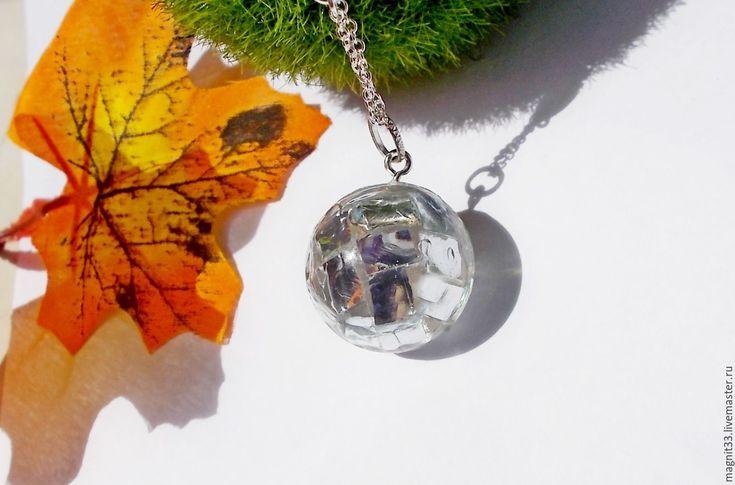 Купить Кулон Миллионы искр в одном зеркальном шаре(цепь серебро925) - белый, кулон зеркальный шар