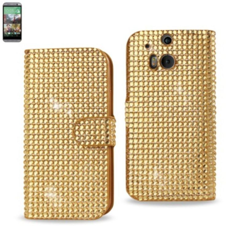 Reiko Diamond Flip Case Htc One M8 Gold