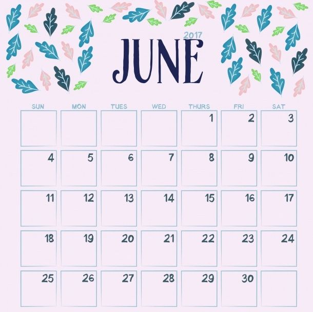 Free June 2018 Floral Calendar Calendar Craft Flower Calendar