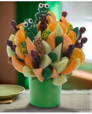 Let's Frog Around Blossom scent free fruit bouquet are great for all occasions and make great gifts ideas or decorations from a proud Canadian Company. Great alternative to traditional flowers or fruit baskets