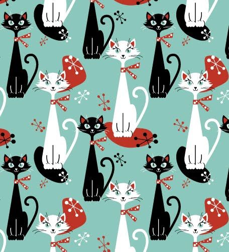 atomic retro cat | new colourway for Retro cat seamless pattern. You can find both ...