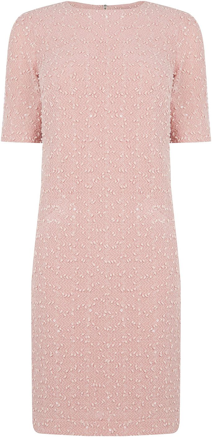 Womens dusty pink popcorn dress from Oasis - £45 at ClothingByColour.com